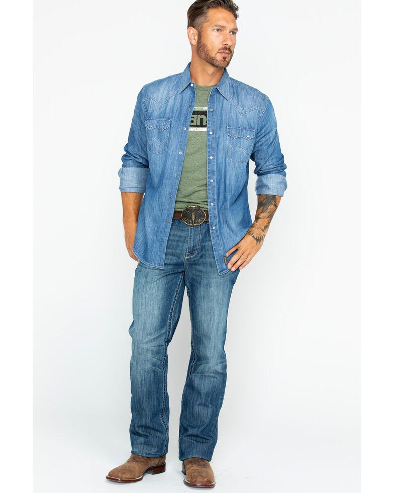 Wrangler Retro Men's Long Sleeve Premium Vintage Denim Long Sleeve Western Shirt , Indigo, hi-res