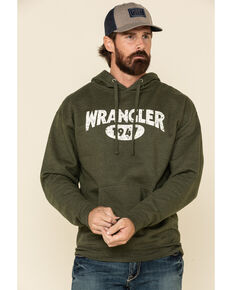 Wrangler Men's Green Logo Graphic Hooded Sweatshirt , Green, hi-res