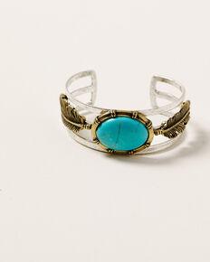 Shyanne Women's Ida Gold Feather Cuff Bracelet, Silver, hi-res