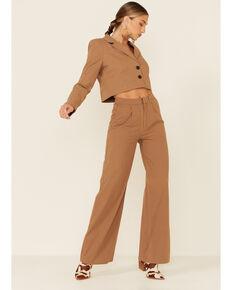 The Now Women's Tan High Waisted Pants , Tan, hi-res