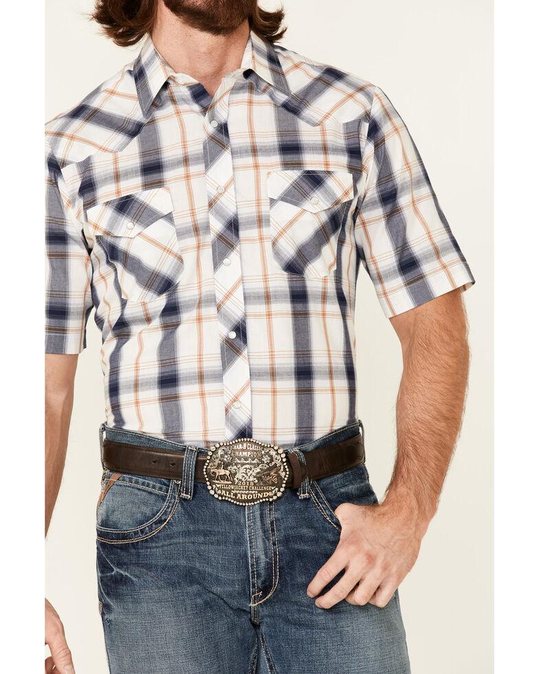Roper Men's White Classic Large Plaid Short Sleeve Snap Western Shirt , White, hi-res
