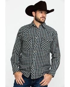 Resistol Men's Davy Crockett Small Plaid Long Sleeve Western Shirt , Brown, hi-res