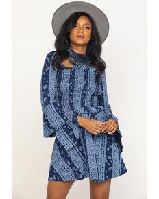 Rock & Roll Cowgirl Women's Navy Bandana Print Dress, Navy, hi-res