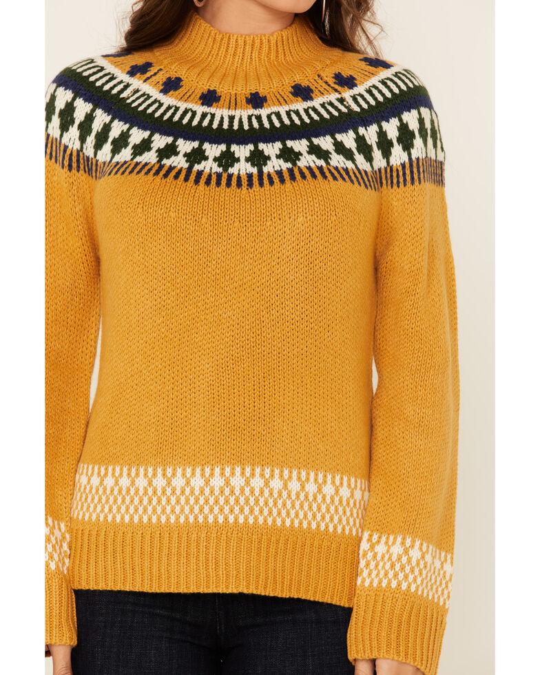 Hem & Thread Women's Mustard Jacquard Mock Neck Sweater , Mustard, hi-res