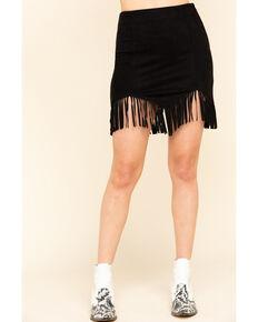 Flying Tomato Women's Olive Faux Suede Triangle Hem Fringe Mini Skirt, , hi-res