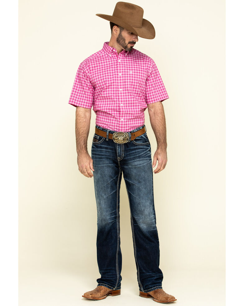 Ariat Men's Gillery Stretch Small Plaid Short Sleeve Western Shirt , Pink, hi-res