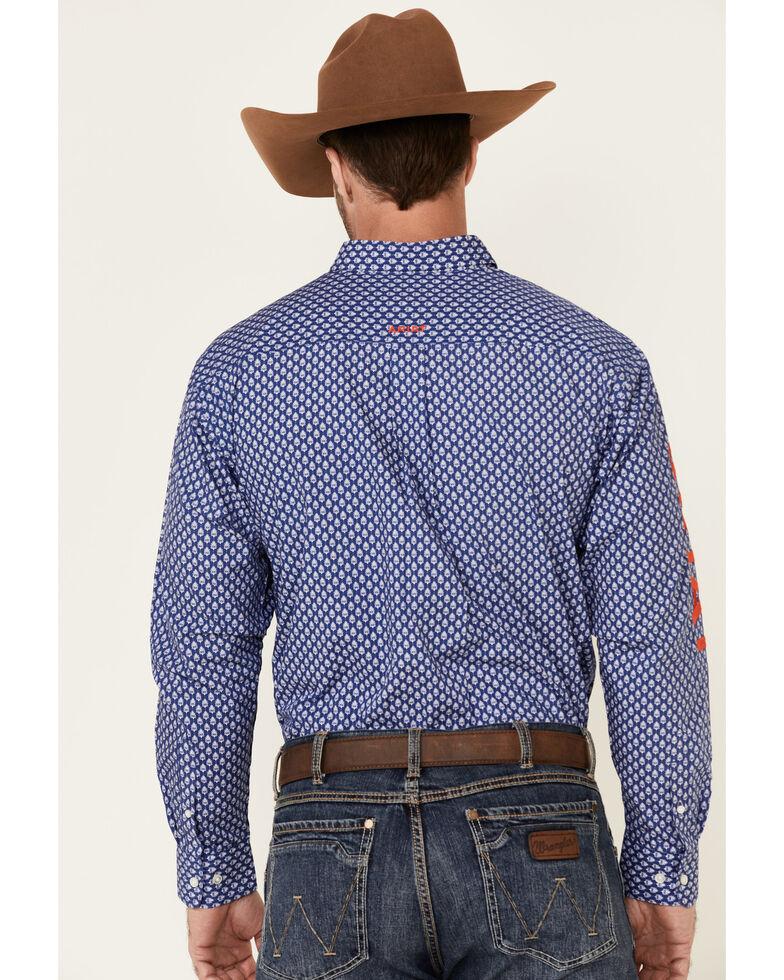 Ariat Men's Blue Team Barle Geo Print Long Sleeve Button-Down Western Shirt - Big, Blue, hi-res
