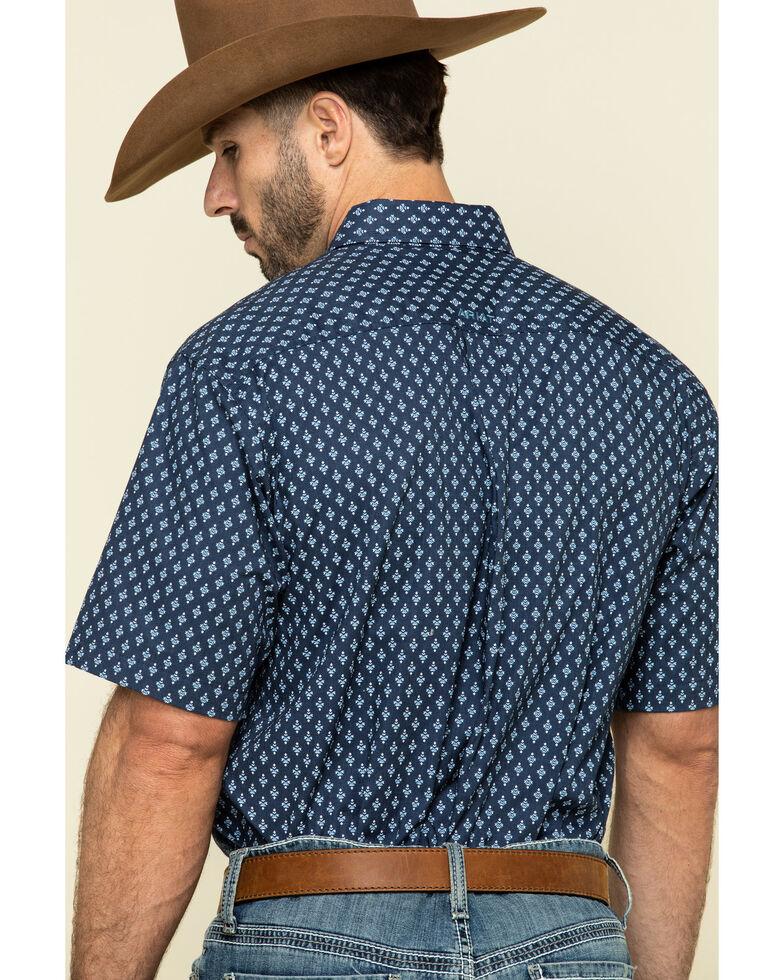 Ariat Men's Trussville Navy Geo Print Short Sleeve Western Shirt , Navy, hi-res