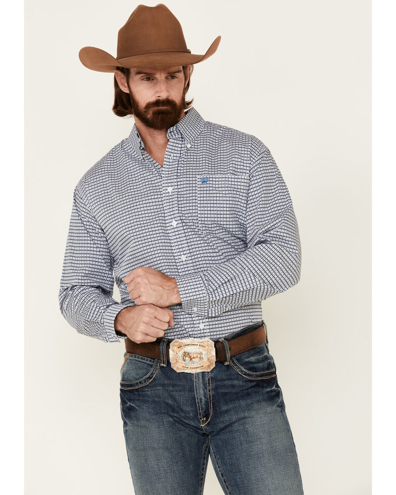 Cinch Men's Criss Cross Print Long Sleeve Western Shirt , White, hi-res