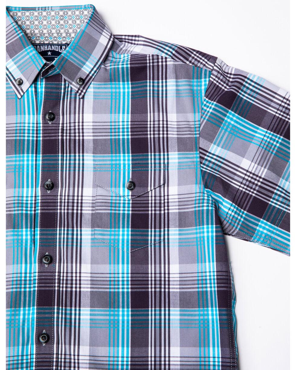 Panhandle Select Boys' Grey Poplin Plaid Short Sleeve Western Shirt , Grey, hi-res