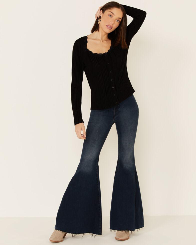 Lunachix Women's Brushed Ribbed Lace Trim Long Sleeve Top , Black, hi-res