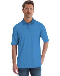 George Strait by Wrangler Men's Blue Performance Short Sleeve Polo Shirt , Light Blue, hi-res