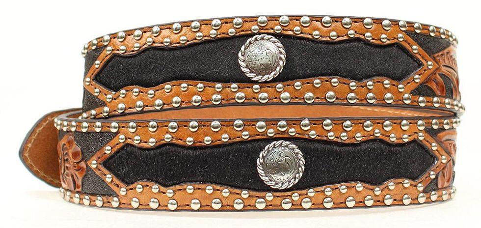 Nocona Tooled Hair-on-Hide Inlay Concho Belt, Black, hi-res