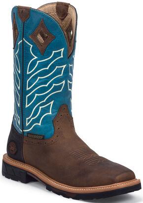 Justin Men's Derrickman Waterproof Work Boots - Soft Toe, Peanut, hi-res
