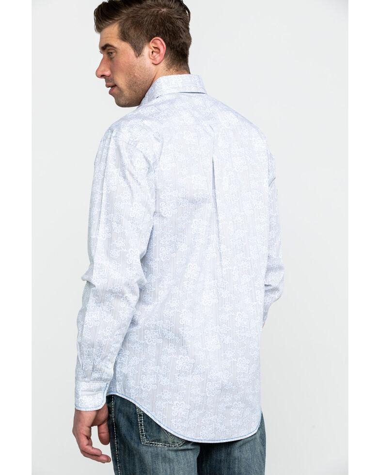 Rough Stock by Panhandle Men's Merazo Vintage Print Long Sleeve Western Shirt , Silver, hi-res