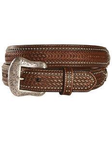 Nocona Ostrich Print Basketweave Billets Leather Belt, Tan, hi-res