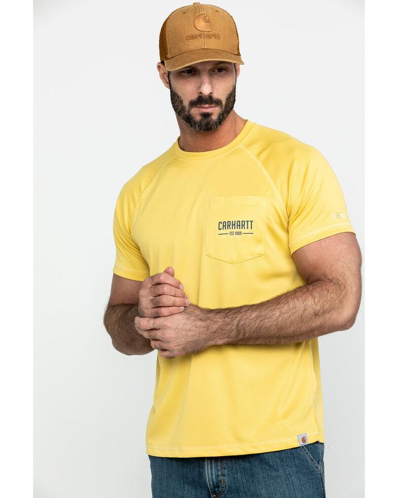 Carhartt Men's Yellow Force Birdseye Graphic Short Sleeve Work T-Shirt, Yellow, hi-res