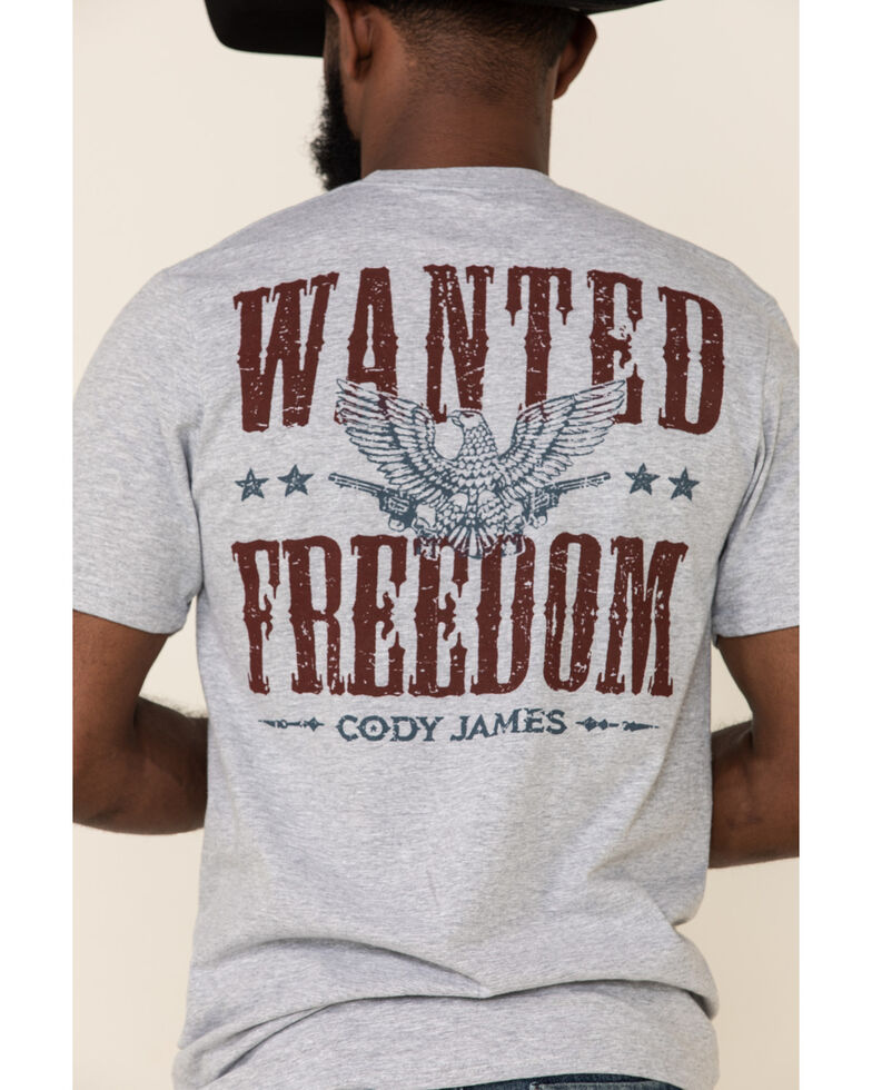 Cody James Men's Grey Wanted Freedom Graphic T-Shirt , Grey, hi-res