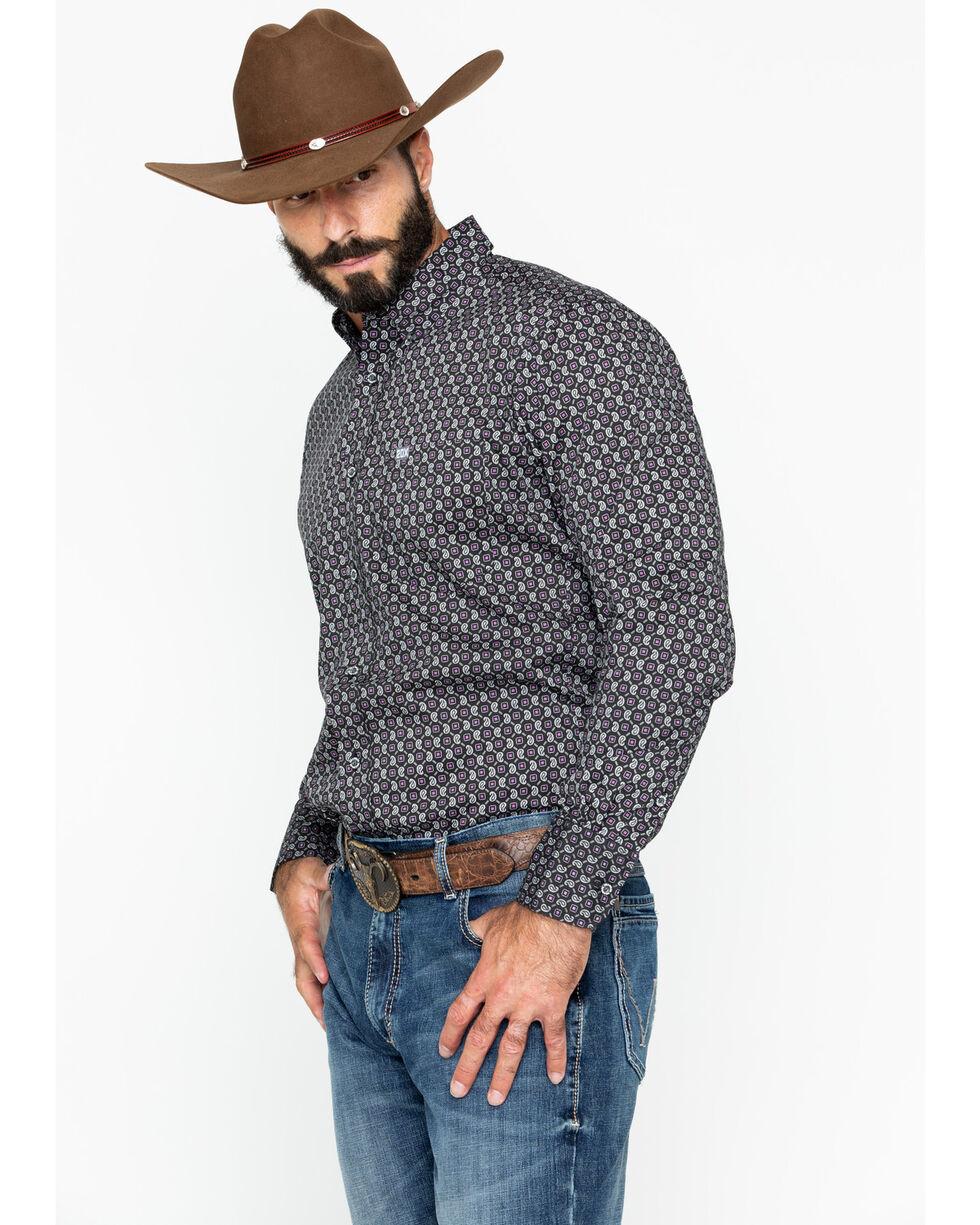 Wrangler 20X Men's Paisley Print Performance Long Sleeve Western Shirt , Black/purple, hi-res