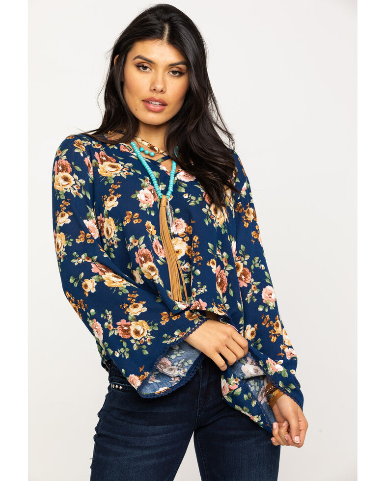 Red Label by Panhandle Women's Navy Floral Blouse, Navy, hi-res