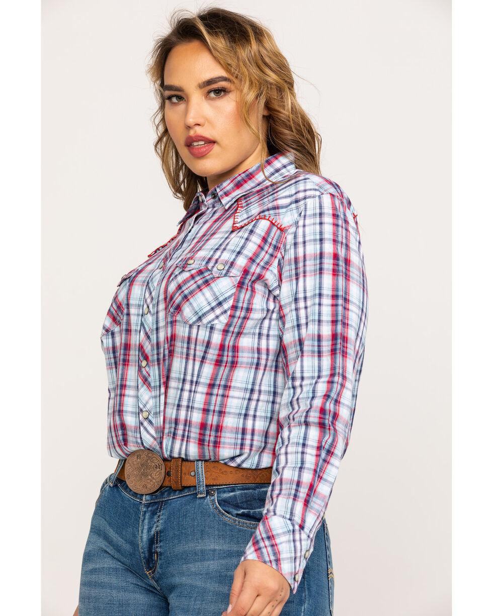 Ariat Women's Blue Plaid Real Vibrant Snap Long Sleeve Western Shirt - Plus, Multi, hi-res