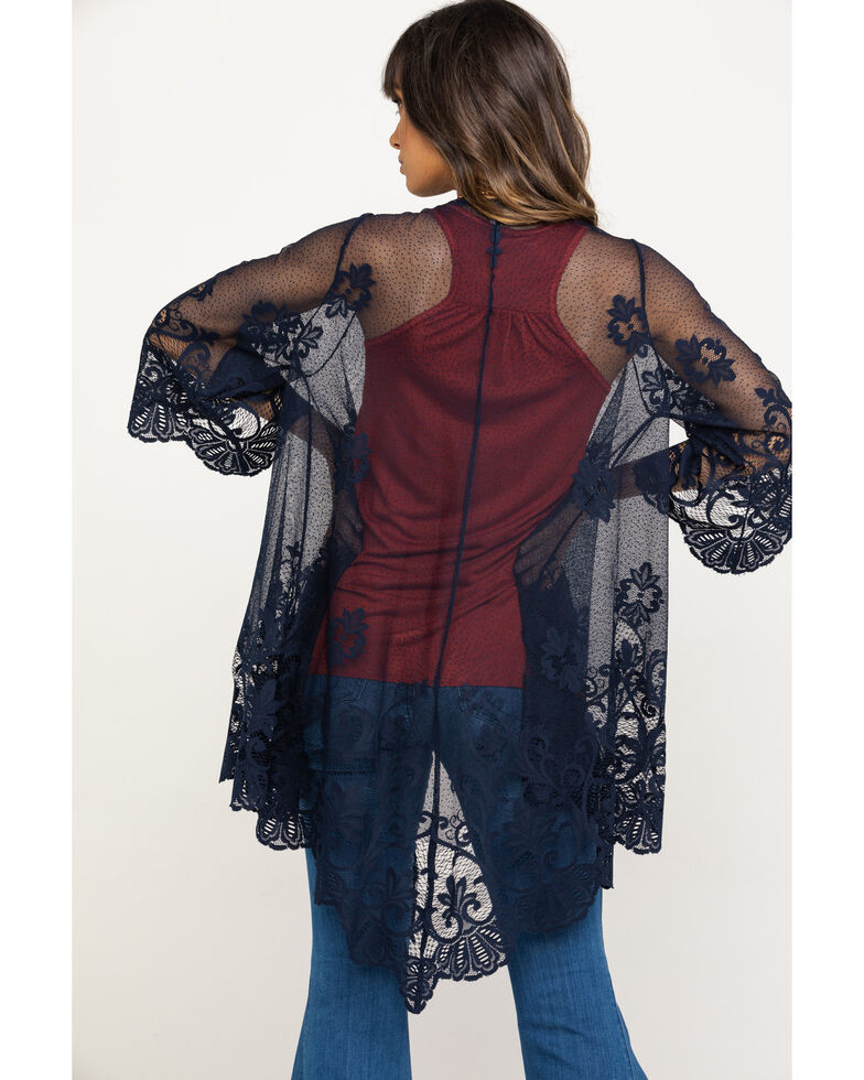Eyeshadow Women's Lace Mesh Kimono, Navy, hi-res