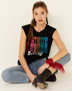 Shyanne Women's Black Fringe With Benefits Graphic Muscle Tee , Black, hi-res