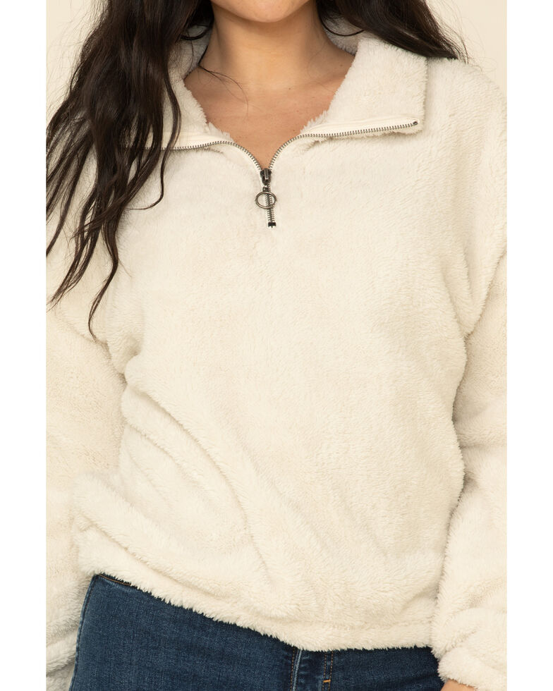PJ Salvage Women's Cozy Cuddlers Fuzzy 1/2 Zip Up Pullover , Stone, hi-res