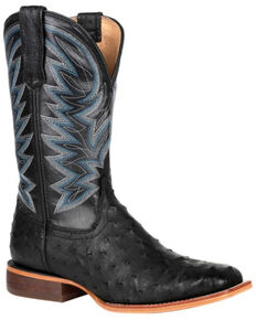 Durango Men's Full-Quill Ostrich Western Boots - Square Toe, Black, hi-res