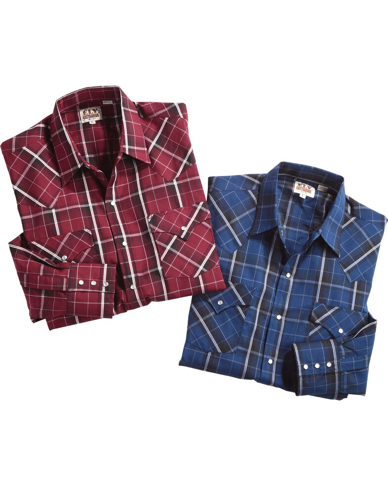 Ely Cattleman Men's Assorted Textured Plaid Western Shirt , Multi, hi-res