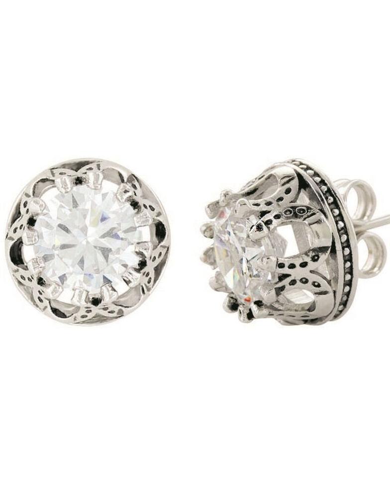 Montana Silversmiths Women's Lucky Water Horseshoe Post Earrings, Silver, hi-res