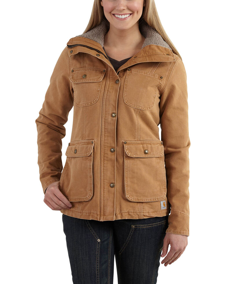 Carhartt Women's Weathered Duck Wesley Coat, Carhartt Brown, hi-res