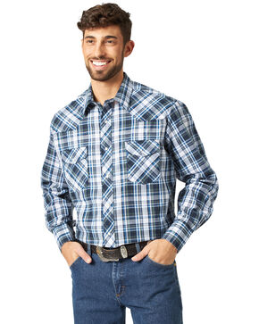 Wrangler Assorted Stripe or Plaid Classic Long Sleeve Western Shirt, Plaid, hi-res