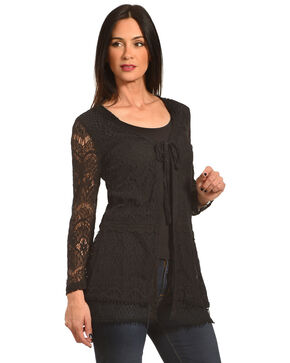 Young Essence Women's Black Lace Cardigan, Black, hi-res