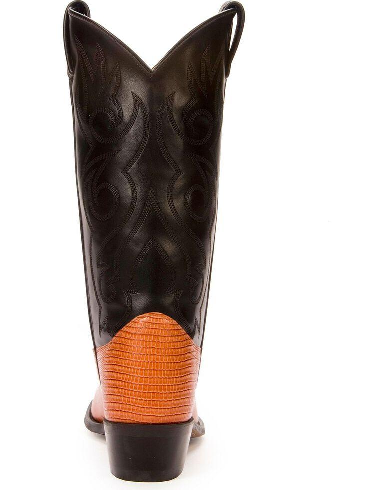 Old West Lizard Printed Cowboy Boots - Medium Toe, Cognac, hi-res