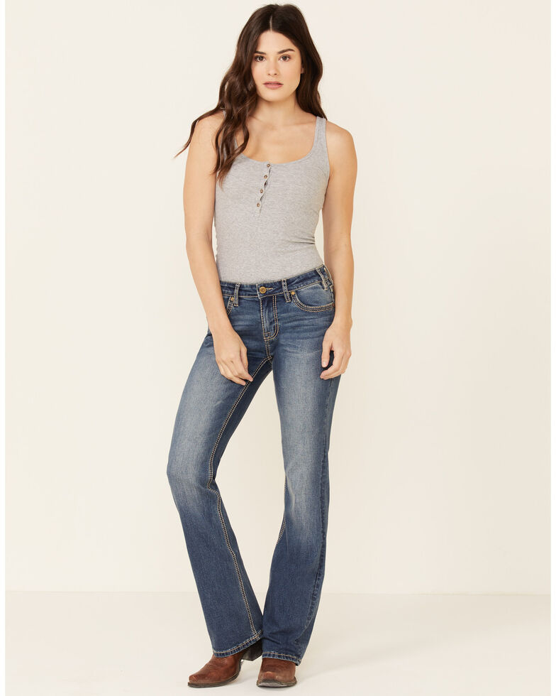 Rock & Roll Denim Women's Medium Wash Bootcut Riding Jeans, Blue, hi-res