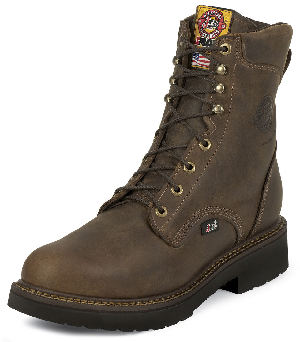 "Justin Men's J-Max 8"" Balusters Rugged Bay EH Lace-Up Work Boots - Soft Toe, Brown, hi-res"