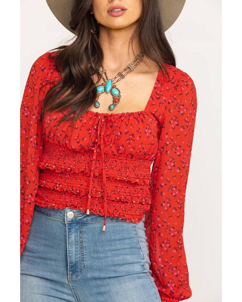Free People Women's Printed Lolita Top, Red, hi-res