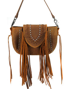 Montana West Women's Shelby Leather Crossbody Bag, Brown, hi-res