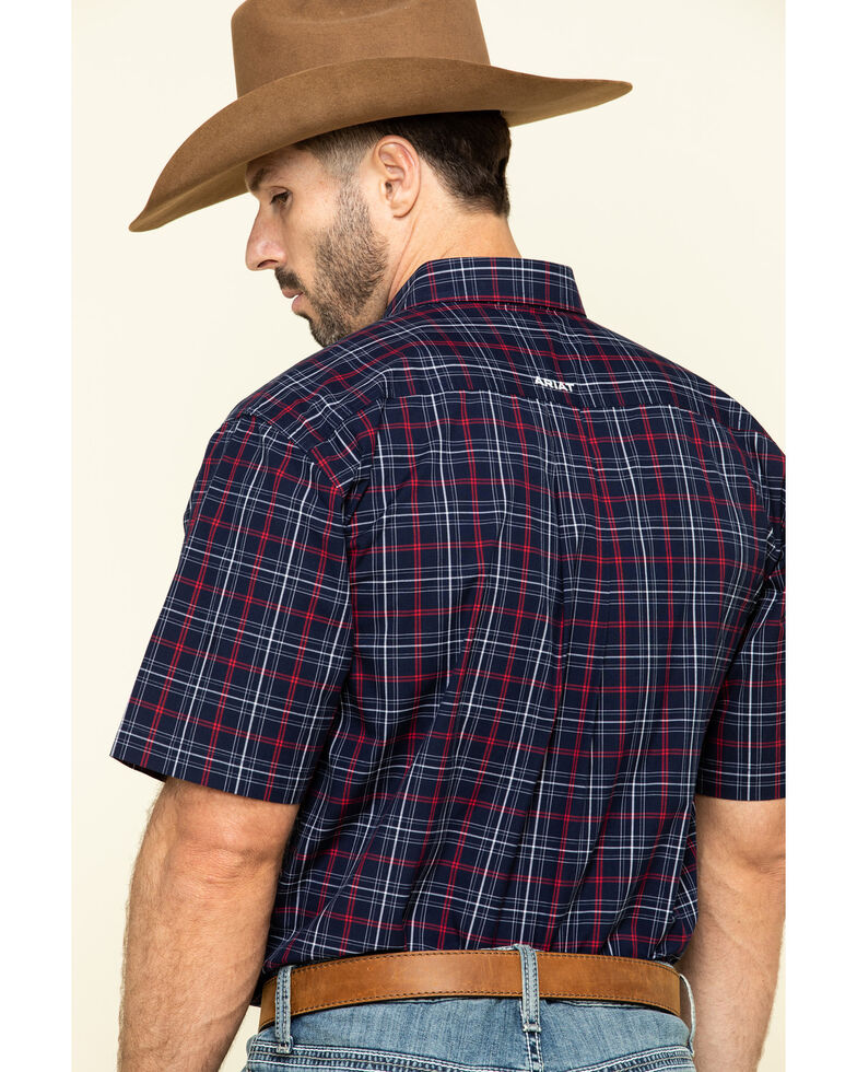 Ariat Men's Turlock Navy Plaid Short Sleeve Western Shirt , Navy, hi-res