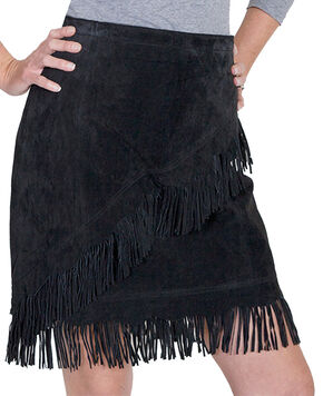 Scully Short Fringe Boar Suede Skirt, Black, hi-res