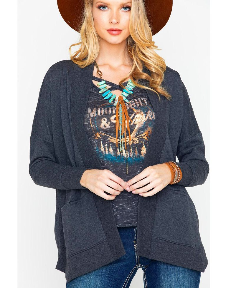 Shyanne Women's Lace Up Back Cardigan , Charcoal, hi-res