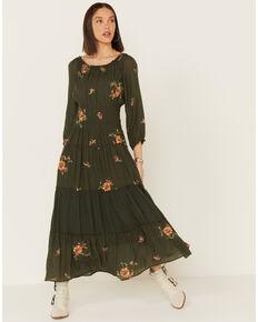 Olive Hill Women's Olive Floral Embroidered Dress, Olive, hi-res