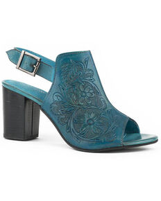 Roper Women's Burnished Turquoise Tooled Sandals - Round Toe, Blue, hi-res