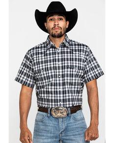 Wrangler Men's Wrinkle Resist Black Med Plaid Short Sleeve Western Shirt , Black, hi-res