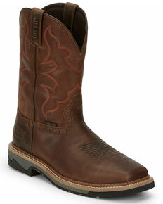 Justin Men's Carbide Western Work Boots - Composite Toe, Brown, hi-res