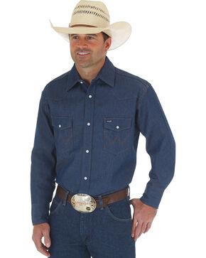 Wrangler Cowboy Cut Rigid Denim Western Work Shirt - Big & Tall , Blue, hi-res