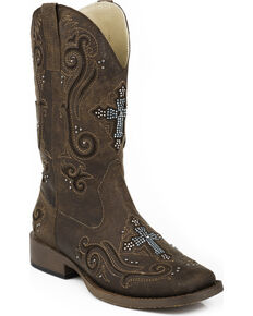 Roper Women's Bling Crystal Cross Faux Leather Cowgirl Boots - Square Toe, Brown, hi-res
