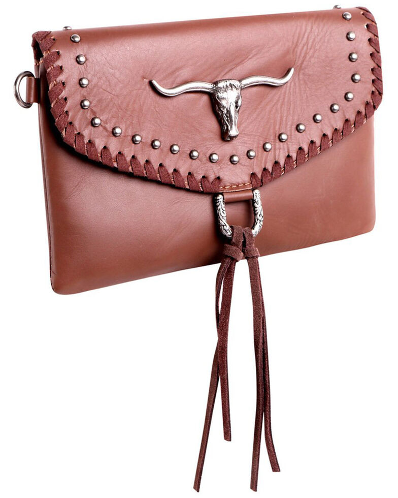 Montana West Women's Longhorn Crossbody Handbag, Tan, hi-res