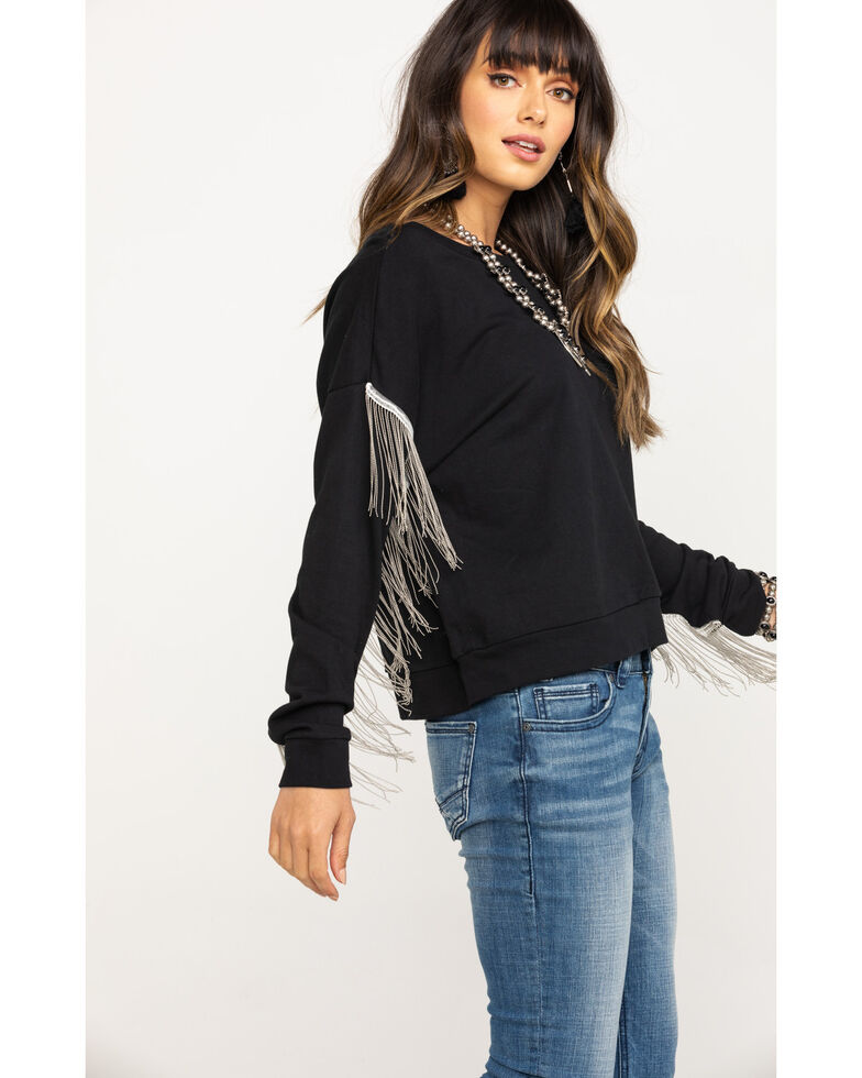 Five Star Women's Chain Fringe Long Sleeve Top, Black, hi-res